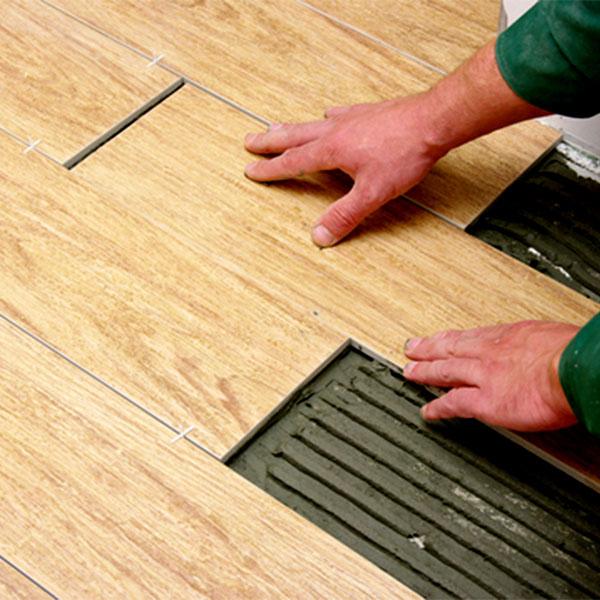 wood tile installation