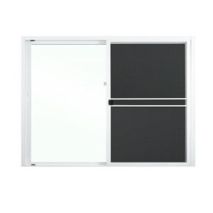 หน้าต่างบานเลื่อนสลับ อลูมิเนียม LYNN สีขาว 120x110 ซม. พร้อมมุ้งลวด