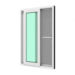 หน้าต่างบานเลื่อนคู่ (เลื่อนสลับ) WINDSOR กระจกเขียวใส 5 มม. พร้อมมุ้งลวด