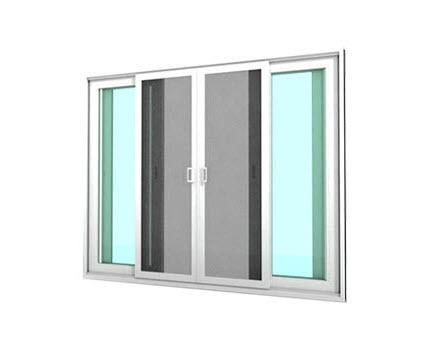 หน้าต่างบานเลื่อน 4 บาน รุ่น MARK ll กระจกเขียวใส 5 มม. มีมุ้งลวด