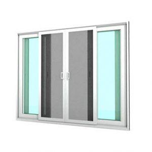 หน้าต่างบานเลื่อน 4 บาน รุ่น SIGNATURE กระจกเขียวใส 6 มม.+มุ้งลวด