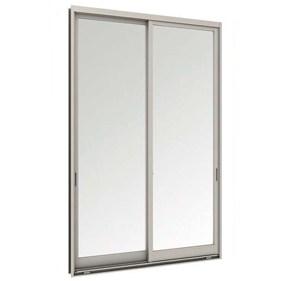 ประตูบานเลื่อนคู่(เลื่อนสลับ)TOSTEM รุ่น P7 พร้อมมุ้งลวด กระจกเขียวใส