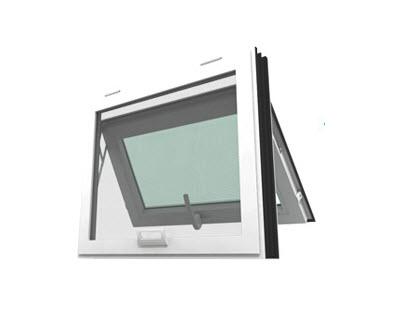 หน้าต่างบานกระทุ้ง รุ่น SMARTกระจกลายฝ้า 5 มม.+มุ้งลวด