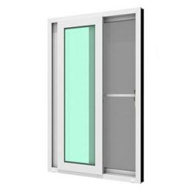 ประตูบานเลื่อนคู่(เลื่อนสลับ) WINDSOR กระจกเขียวใส 5 มม. ติดกุญแจ+มุ้งลวด
