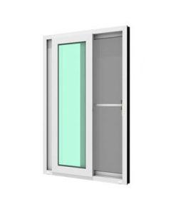 ประตูบานเลื่อนคู่ WINDSOR รุ่น MARK ll กระจกเขียวใส 5 มม. ติดกุญแจ+มุ้งลวด