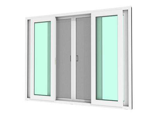 หน้าต่างบานเลื่อน 4 บาน WINDSOR กระจกเขียวใส 5 มม. ไม่มีมุ้งลวด