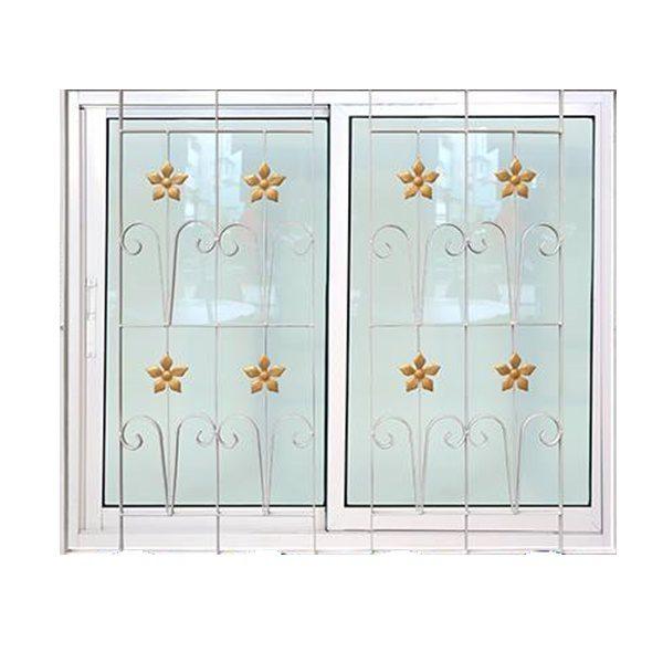 หน้าต่างอลู บล ขาว2ช่อง+มุ้ง+เหล็กดัด 122X105ซม. KPA271